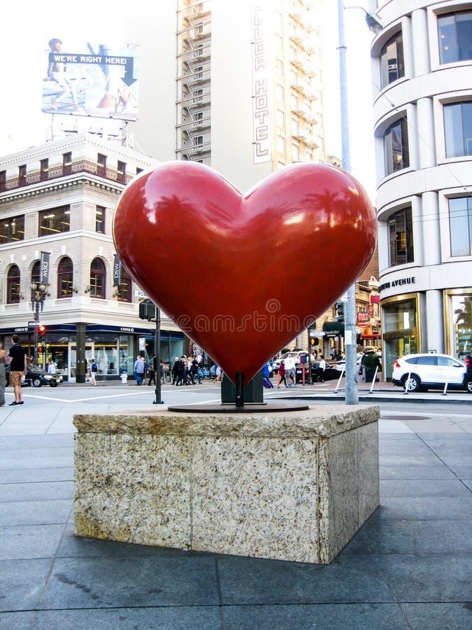 Corazón rojo en San Francisco imagen de archivo
