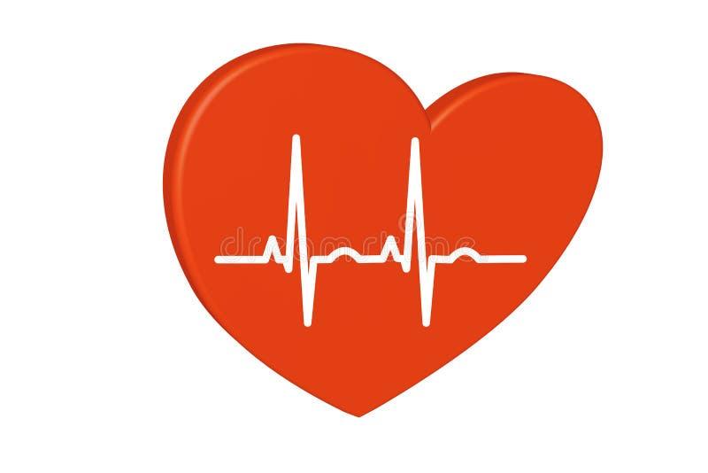 Corazón rojo en un fondo blanco Carta del pulso stock de ilustración