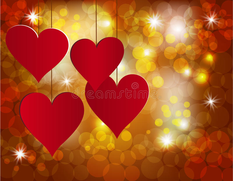 Corazón rojo en un fondo celebrador Postal en honor del día de la tarjeta del día de San Valentín s stock de ilustración