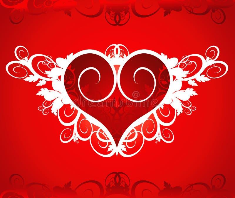 Corazón rojo en un ornamento de la flor libre illustration