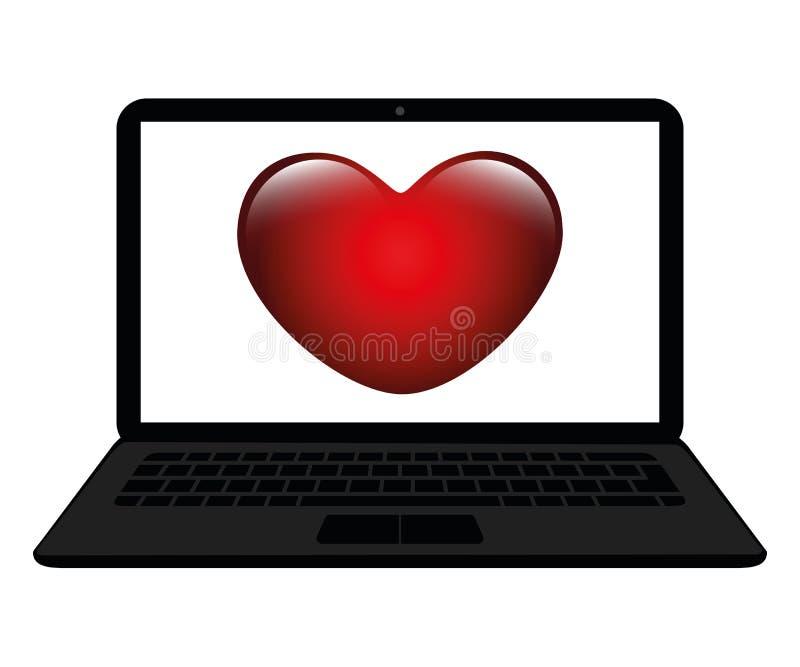 Corazón rojo en una pantalla de un concepto que fecha en línea del ordenador portátil stock de ilustración