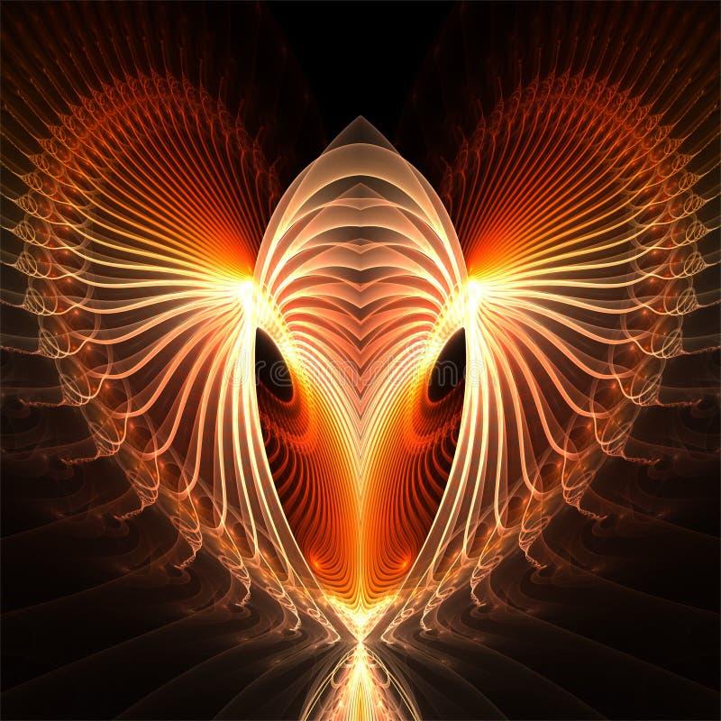 Corazón rojo fantástico del fractal del ordenador del arte de los factals digitales del extracto stock de ilustración