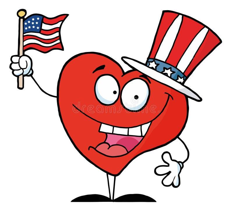 Corazón rojo feliz en un sombrero patriótico stock de ilustración