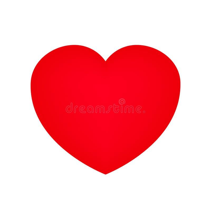 Corazón rojo grande aislado en el vector blanco del fondo stock de ilustración