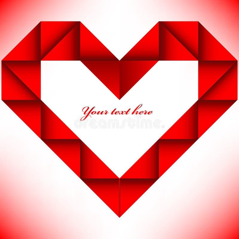 Corazón rojo grande de la papiroflexia ilustración del vector