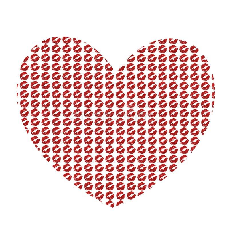 Corazón rojo grande hecho de los kissmarks aislados en el fondo blanco stock de ilustración