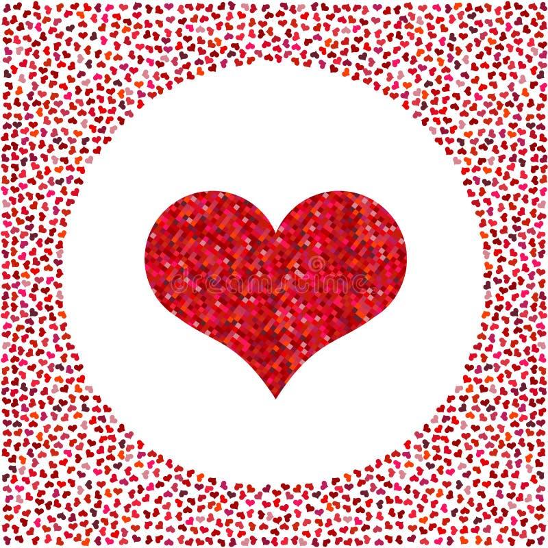 Corazón rojo hecho de pixeles y de pequeños corazones alrededor Fondo del día de tarjetas del día de San Valentín stock de ilustración