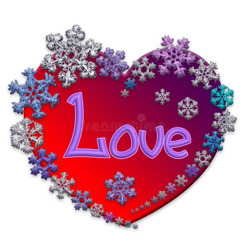 Corazón rojo hermoso con las letras hechas de copos de nieve ilustración del vector