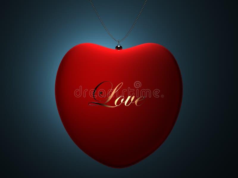 Corazón rojo pendiente con amor de la inscripción del oro imagen de archivo libre de regalías