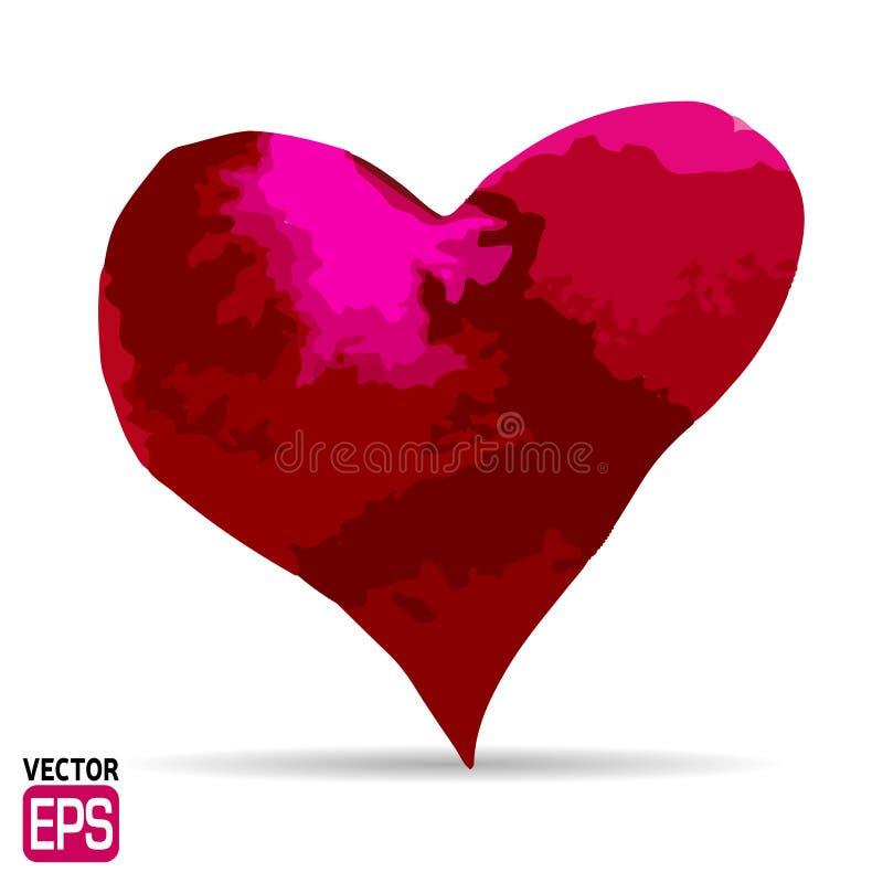 Corazón rojo pintado acuarela, elemento del vector stock de ilustración