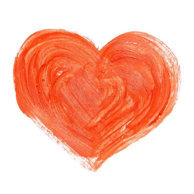 Corazón rojo pintado a mano fotos de archivo