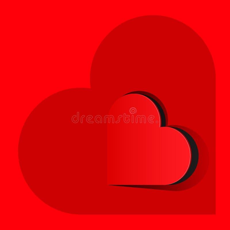 Corazón rojo realista dentro de un corazón grande stock de ilustración