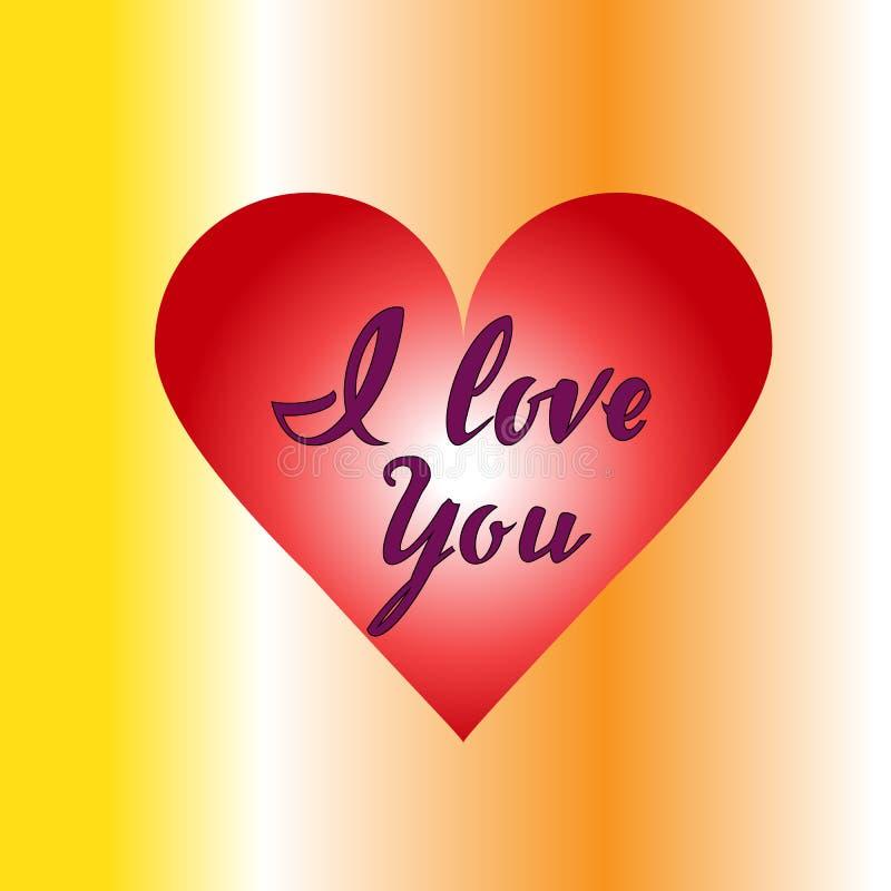 Corazón rojo te amo con la inscripción imagen de archivo
