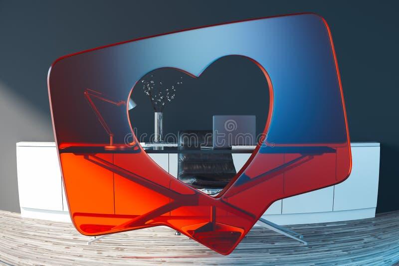 Corazón rojo transparente como símbolo con el escritorio en fondo representación 3d stock de ilustración