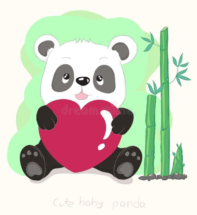 Corazón rojo y bambú del pequeño panda del abrazo lindo de la historieta S dibujado mano libre illustration