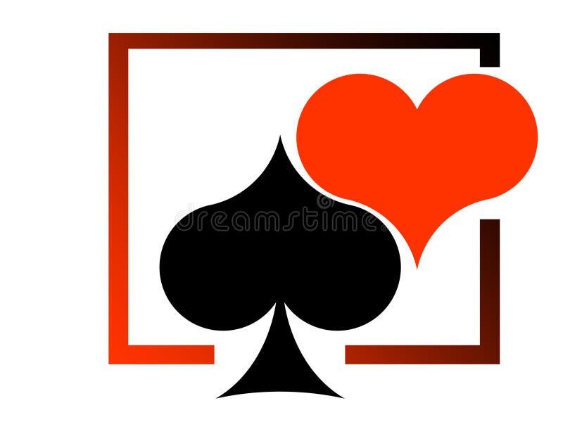 Corazón rojo y corazón negro stock de ilustración