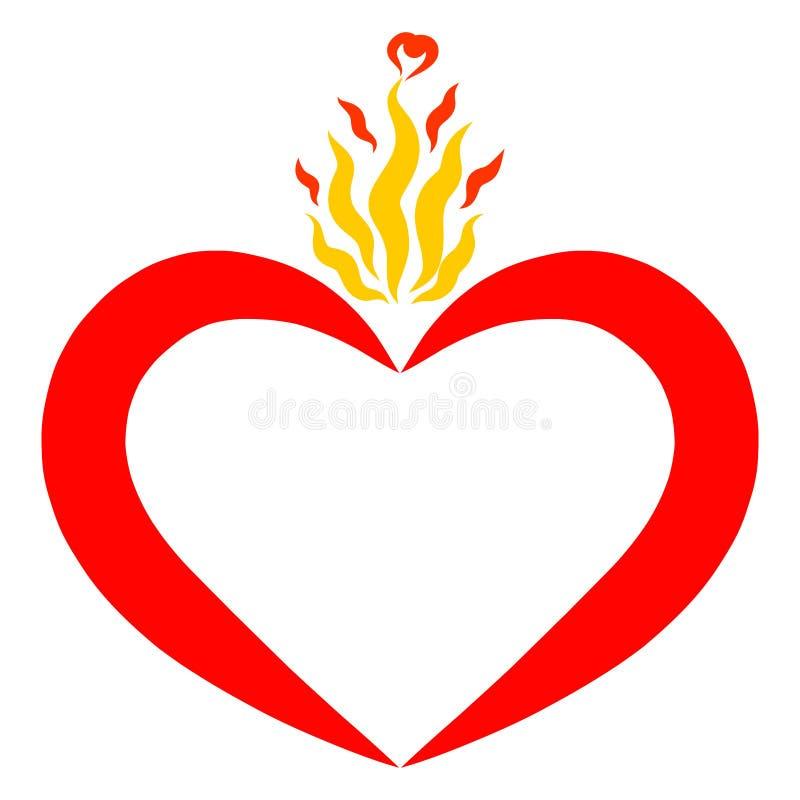 Corazón rojo y llama ondulada amarilla, amor y calidad ilustración del vector
