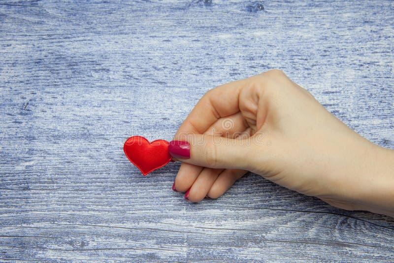 Corazón rojo y mano femenina que lo sostienen, concepto de amor eterno fotografía de archivo libre de regalías