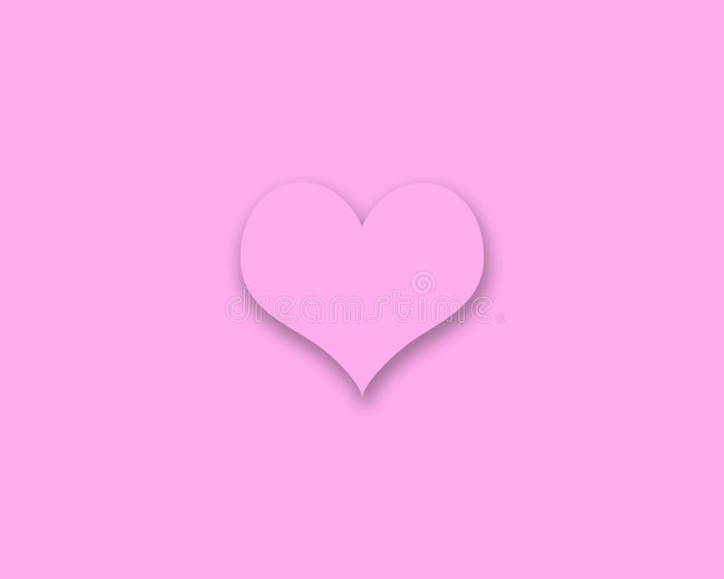 Corazón rosado con la sombra en fondo rosado imágenes de archivo libres de regalías