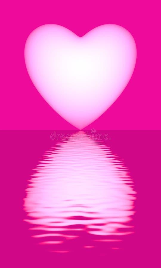 Corazón rosado del amor en el agua ilustración del vector