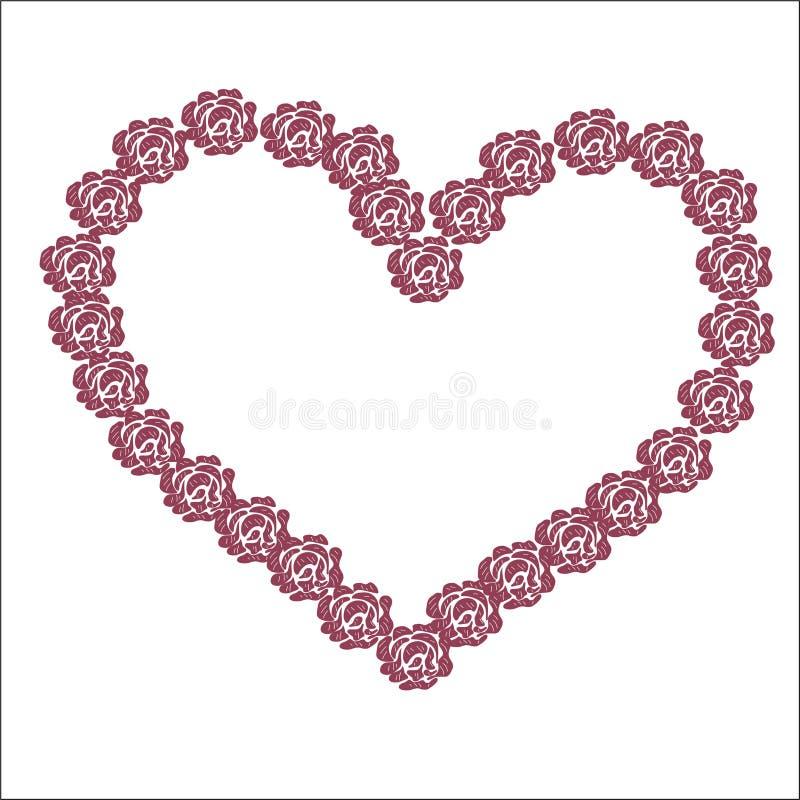 corazón rosado grande de las flores rojas para el día del ` s de la tarjeta del día de San Valentín de los amantes del día de fie libre illustration