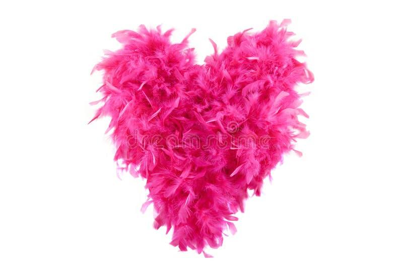 Corazón rosado mullido de la tarjeta del día de San Valentín hecho de boa fotografía de archivo libre de regalías