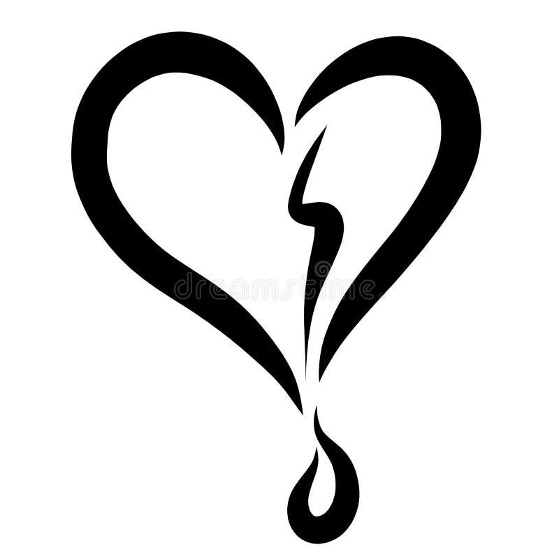 Corazón roto y un descenso de la sangre o del rasgón, modelo negro libre illustration