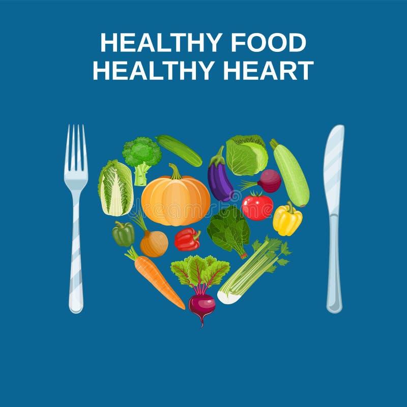 Corazón sano con concepto sano de la comida stock de ilustración