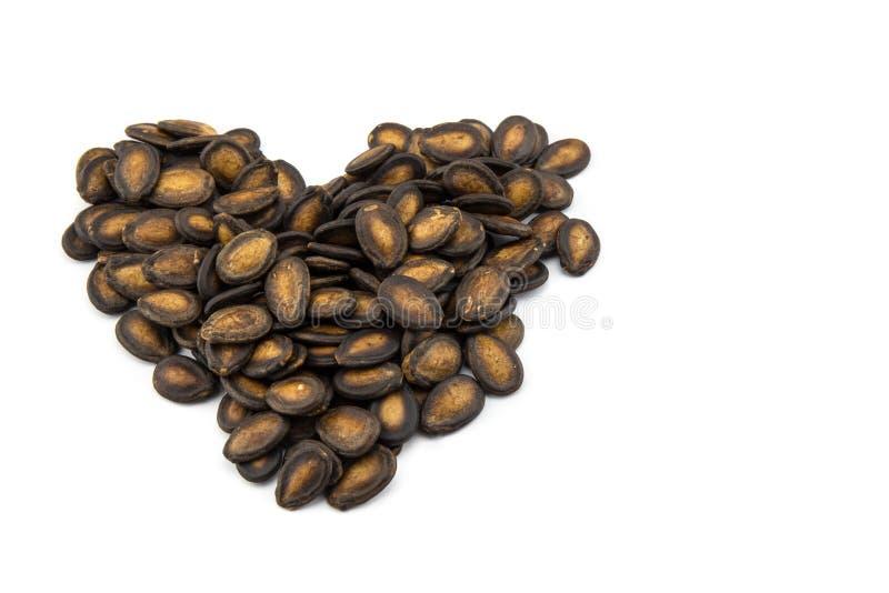 corazón seco de la forma de la semilla de la sandía foto de archivo
