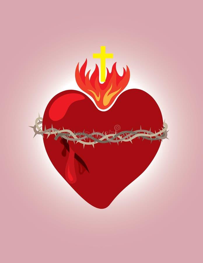 Corazón secreto, icono cristiano y símbolo stock de ilustración