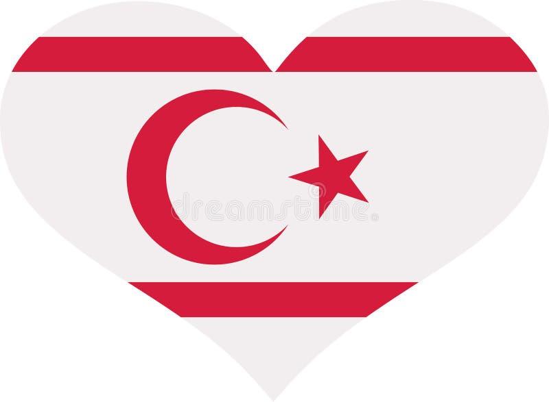 Corazón septentrional de la bandera de Chipre stock de ilustración