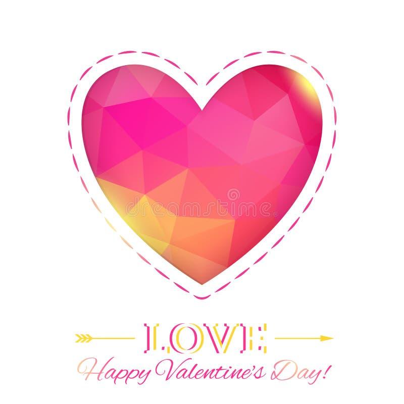 Corazón. Tarjeta feliz del día de tarjeta del día de San Valentín en estilo poligonal. Plantilla f stock de ilustración