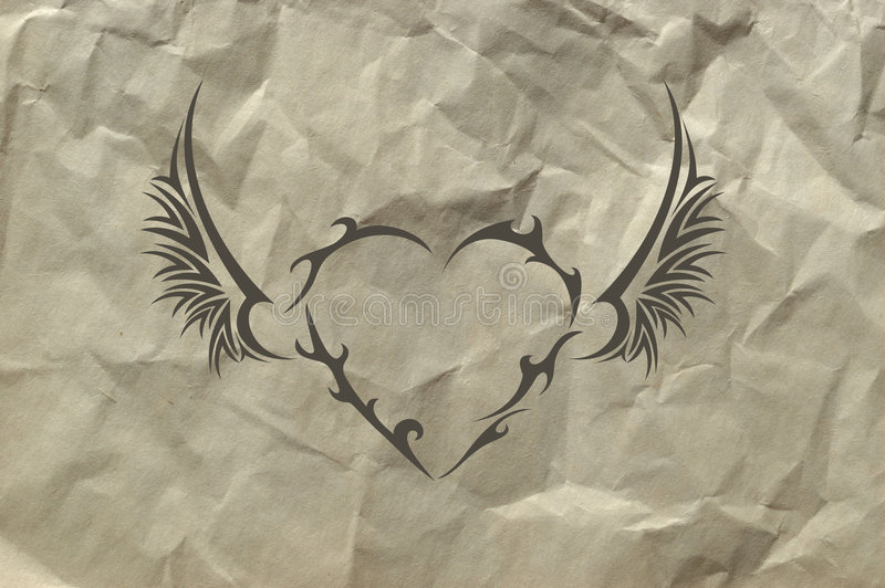 Corazón tribal en fondo de papel machacado ilustración del vector