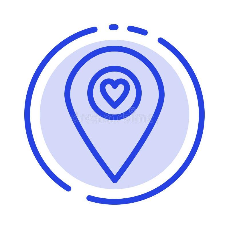 Corazón, ubicación, mapa, línea de puntos azul línea icono del indicador libre illustration