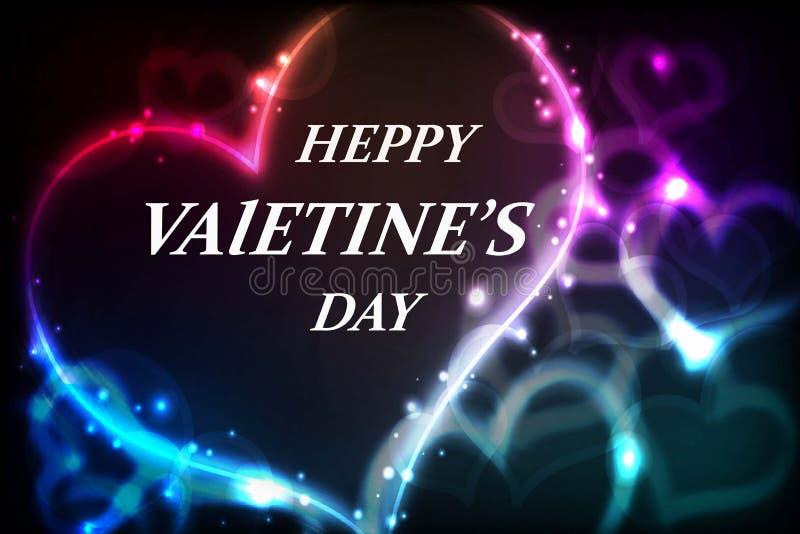 Corazón ultra de neón en un fondo negro en día de San Valentín fotografía de archivo