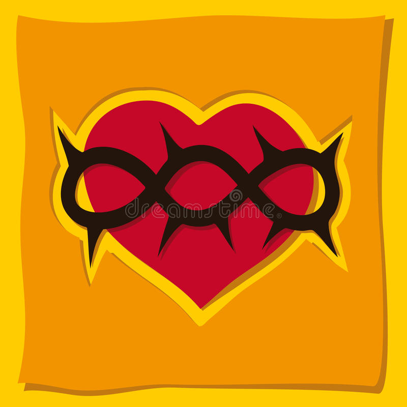 Corazón, un símbolo cristiano stock de ilustración