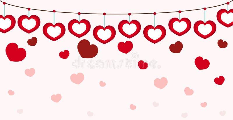 Corazón Valentine Seamless Pink Background stock de ilustración