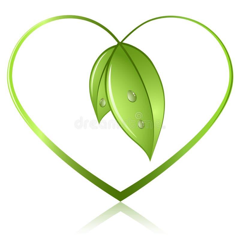 Corazón verde de la hoja ilustración del vector