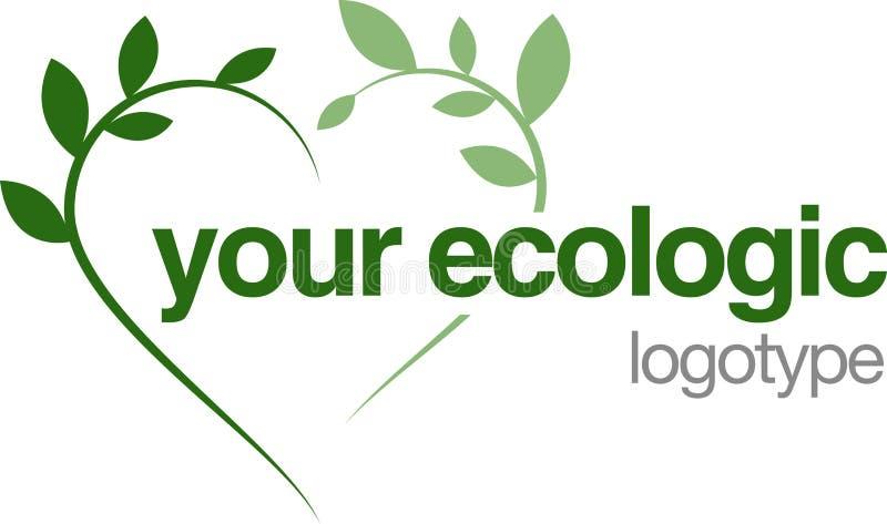 Corazón verde de la insignia ecológico ilustración del vector