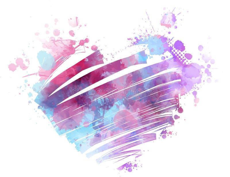 Corazón watercolored Grunge stock de ilustración