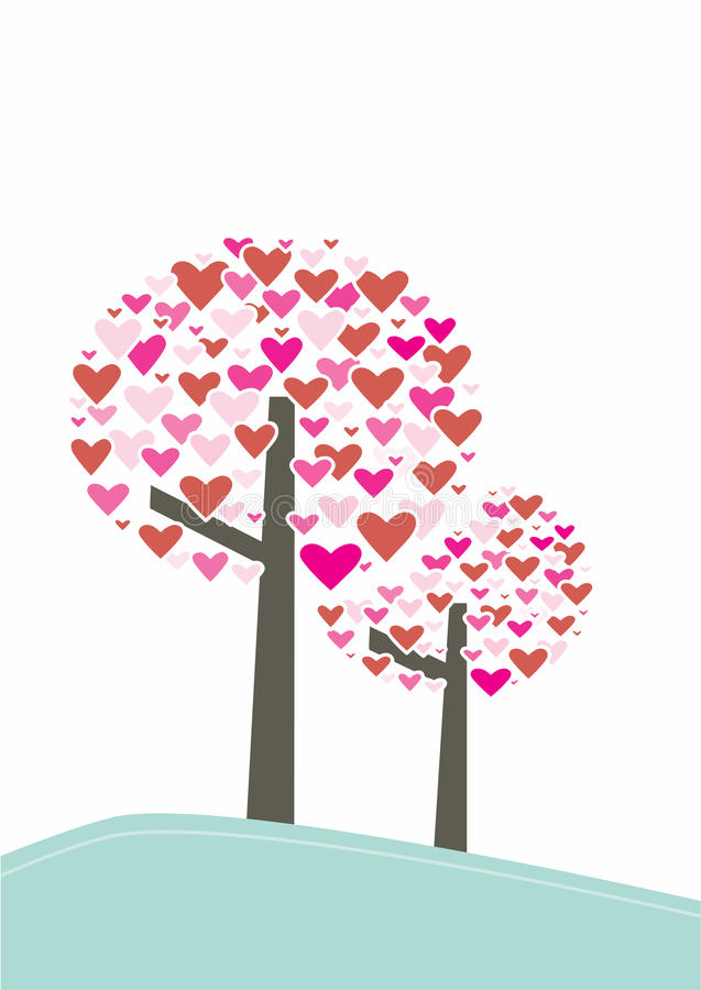 Corazón y árbol del vector imágenes de archivo libres de regalías