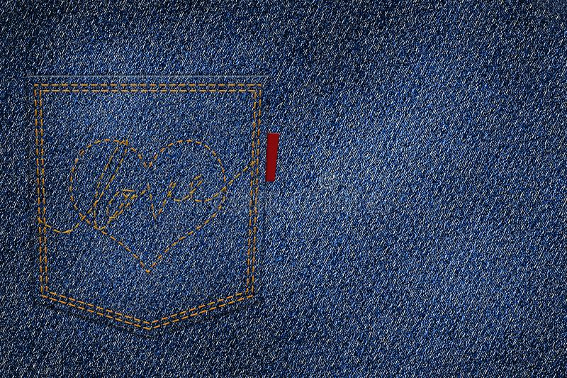 Corazón y amor del bordado con el hilo rojo en el bolsillo trasero stock de ilustración