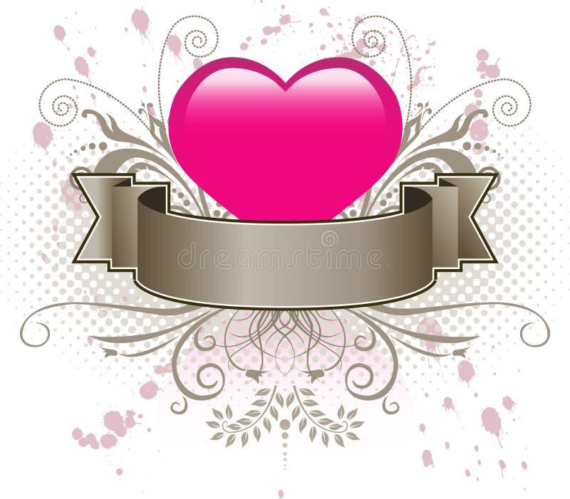 Corazón y bandera rosados ilustración del vector