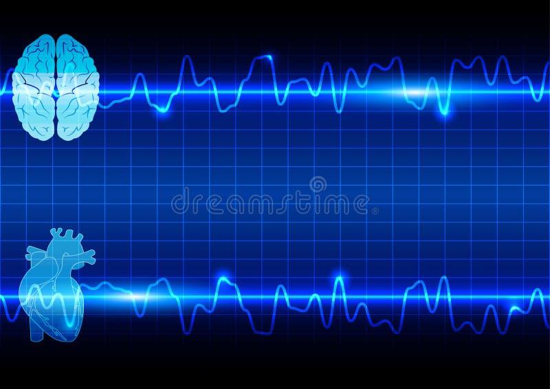 Corazón y cerebro abstractos en atención sanitaria y fondo médico libre illustration