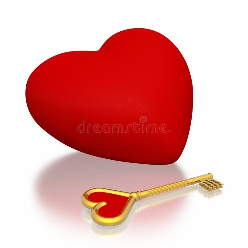 Corazón y clave ilustración del vector