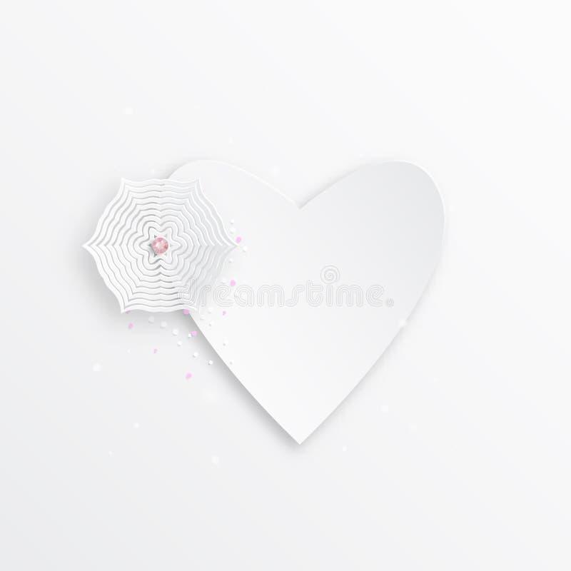 Corazón y copo de nieve del papel para su firma, ejemplo elegante del vector para el diseño web ilustración del vector