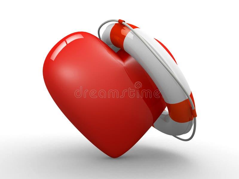 Corazón y correa de vida stock de ilustración