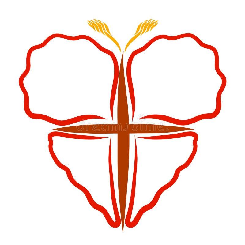 Corazón y cruz, simbolismo cristiano, mariposa creativa libre illustration
