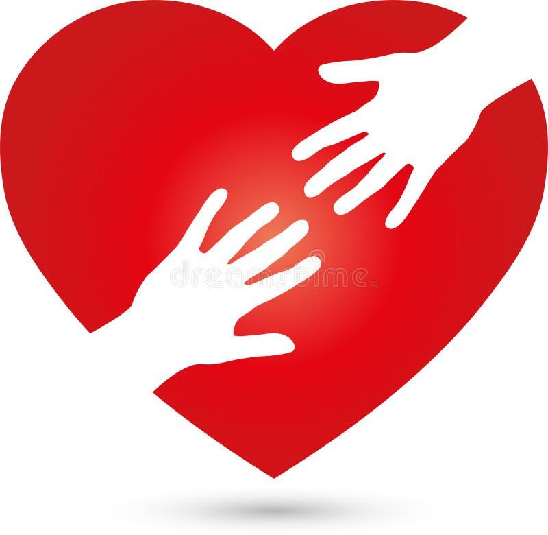 Corazón y dos logotipos de las manos, del corazón y del ayudante stock de ilustración