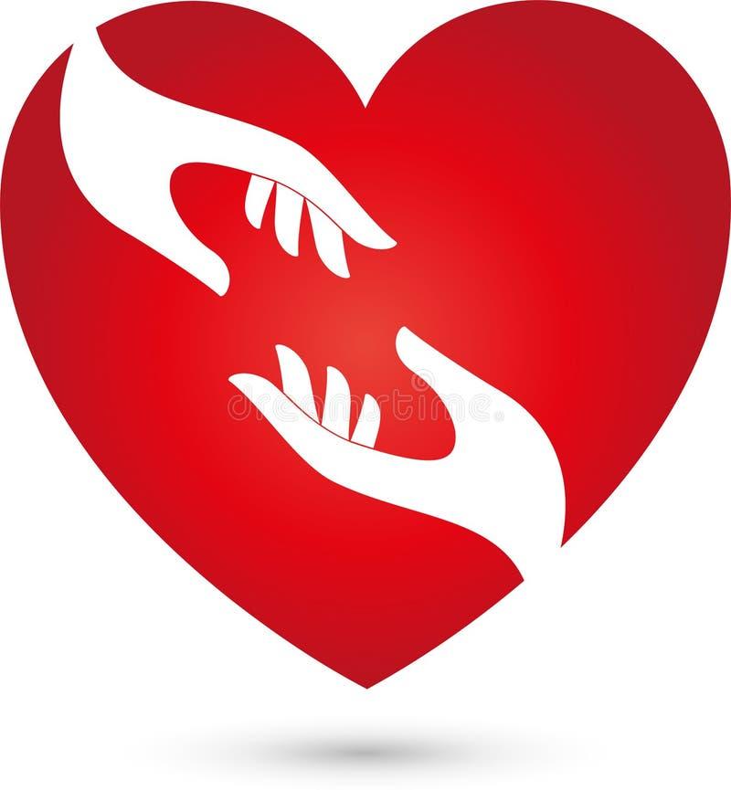 Corazón y dos manos, ayudante y logotipo del amor libre illustration